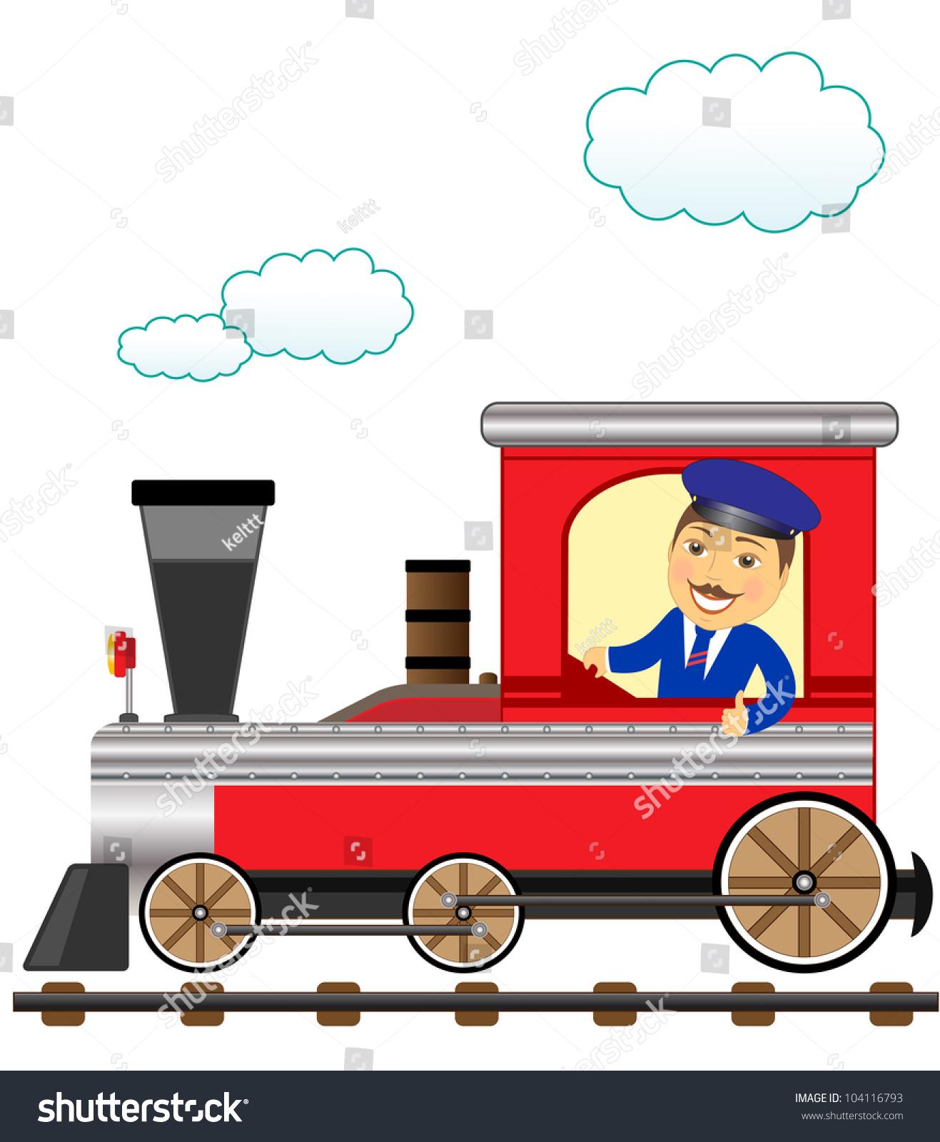 Blue Train Cartoon Stock Vector Cheerful Cartoon Train With Smile Conductor