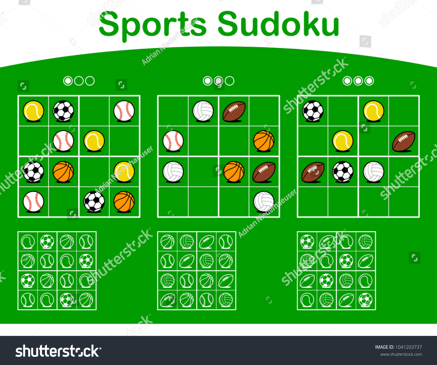 Three Sudoku Puzzle Grids Different Levels Stock Vector (Royalty
