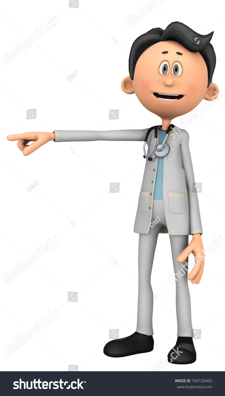 Doctor Cartoon Pointing Over There Stock Illustration ...