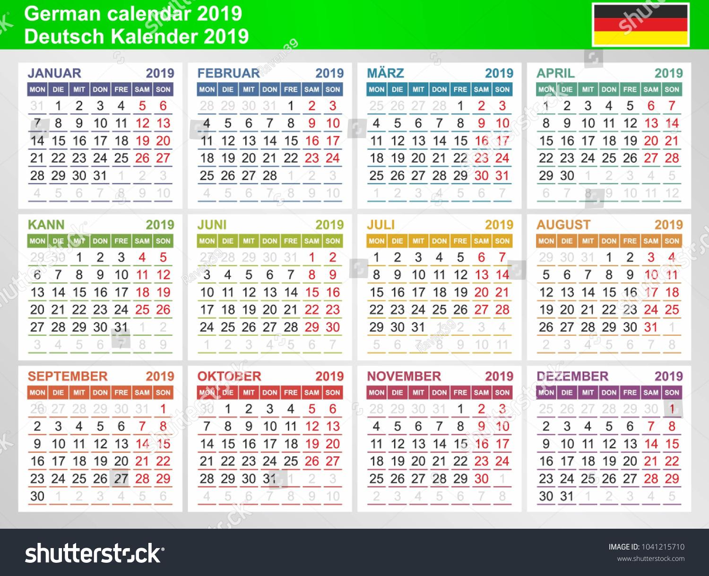 German Calendar 2019 Week Starts Monday Stock Vector Royalty Free