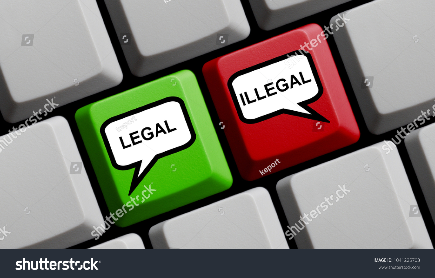 Computer keyboard speech bubble symbols on stock photo 1041225703 computer keyboard with speech bubble symbols on red and green key showing legal or illegal biocorpaavc Image collections