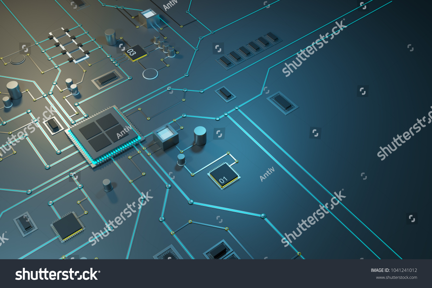 Royalty Free Stock Illustration of High Tech Electronic PCB Printed ...
