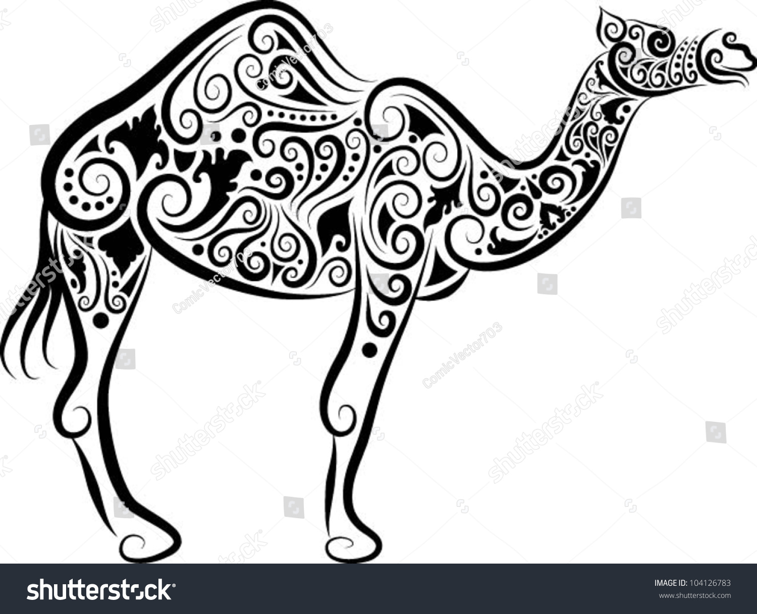 camel decorative ornament animal sketch with floral ornament decoration - Decorative