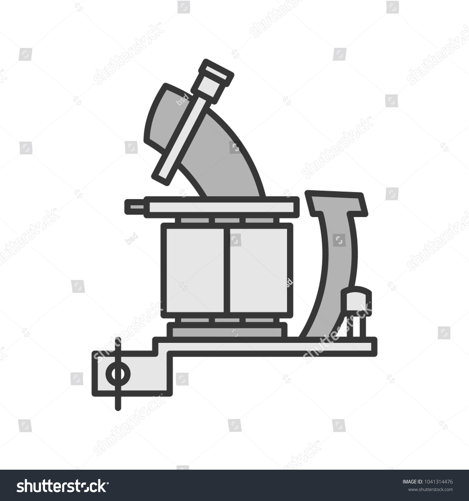 Tattoo Machine Frame Coils Color Icon Stock Vector Royalty Free Coil Gun Diagram With Isolated Illustration
