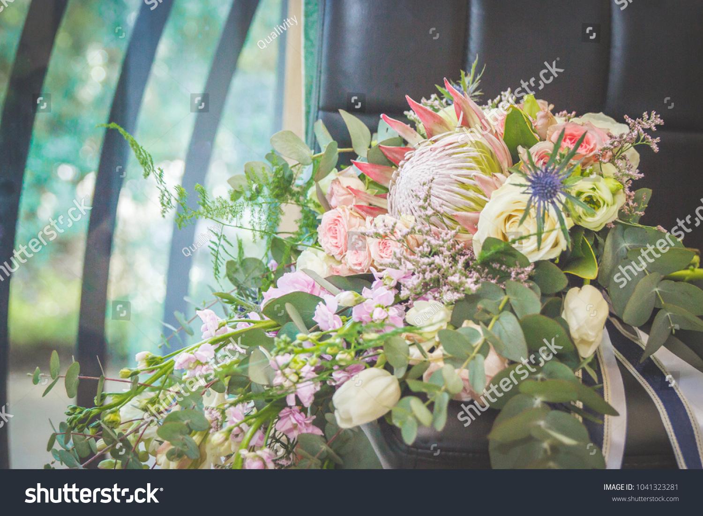 Bouquet Protea Succulent Wedding Flowers Roses Stock Photo (Edit Now ...