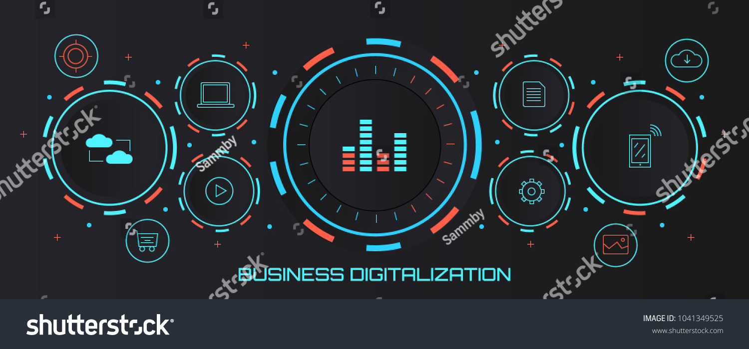 Digital Business Model Data Analysis Stock Vector Royalty Radar Speedometer Marketing Futuristic Concept Banner Isolated On Dark