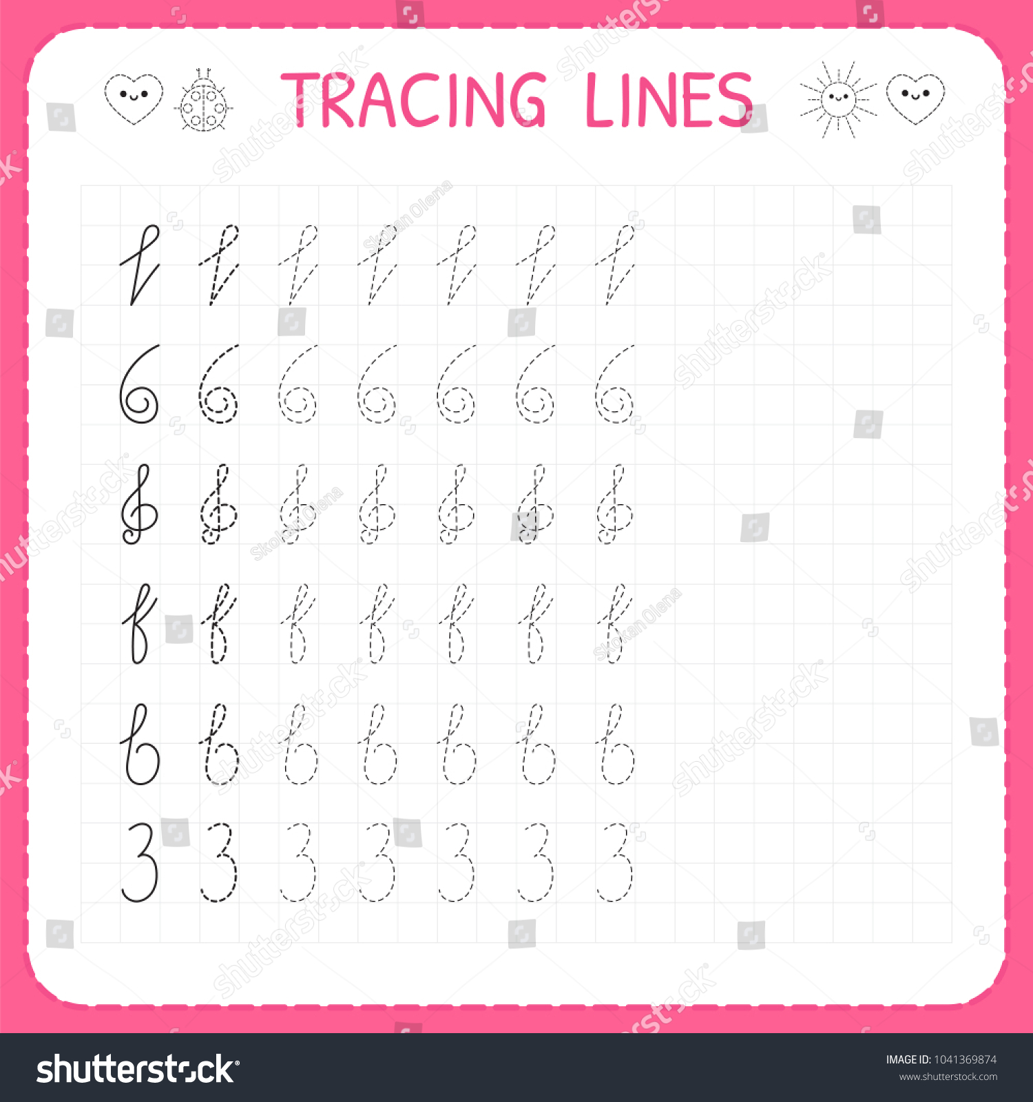worksheet Vector Worksheets tracing lines worksheet kids trace pattern stock vector 2018 for the basic writing preschool or