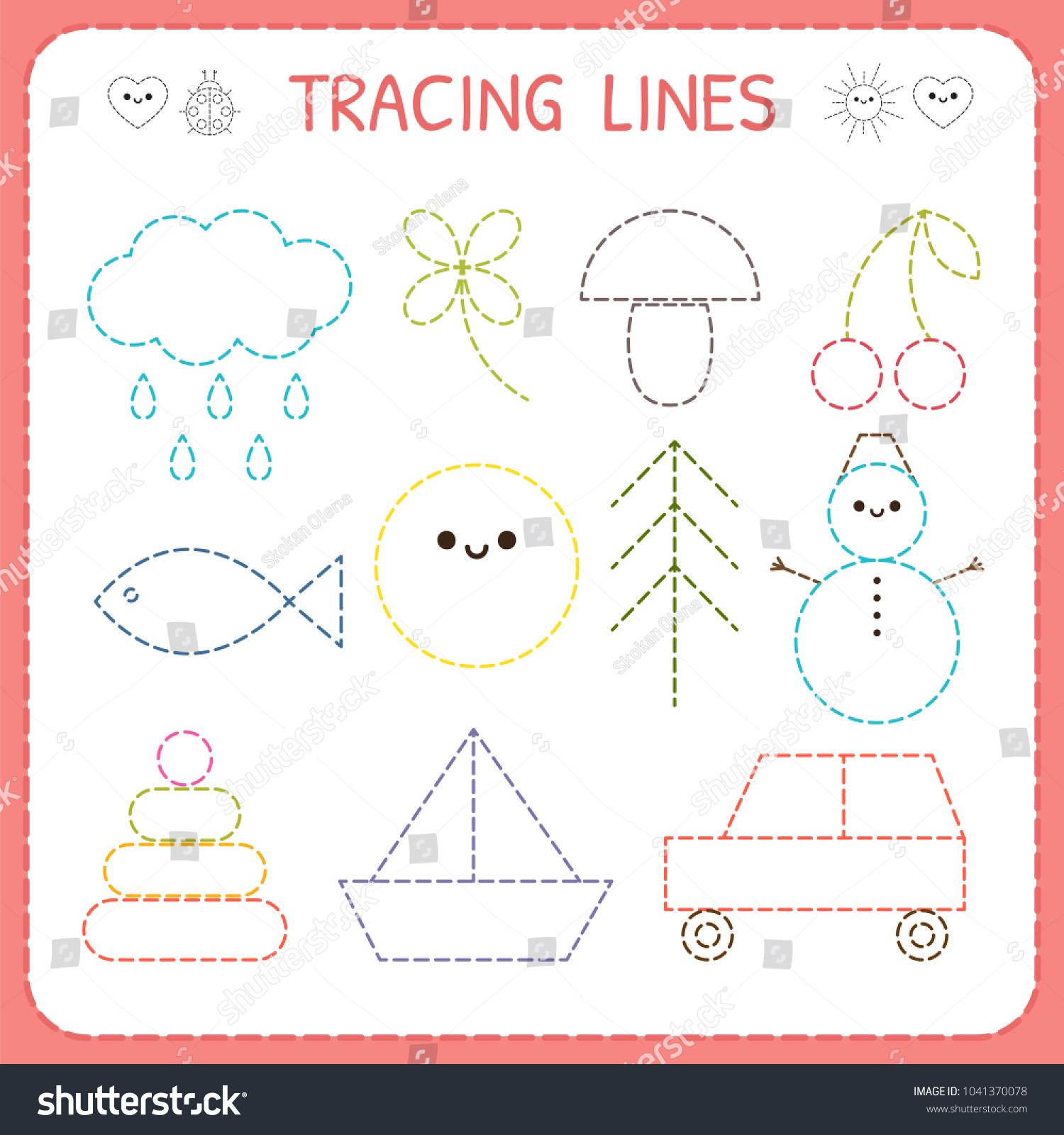 Kindergartens Educational Game Kids Preschool Tracing Stock Vector