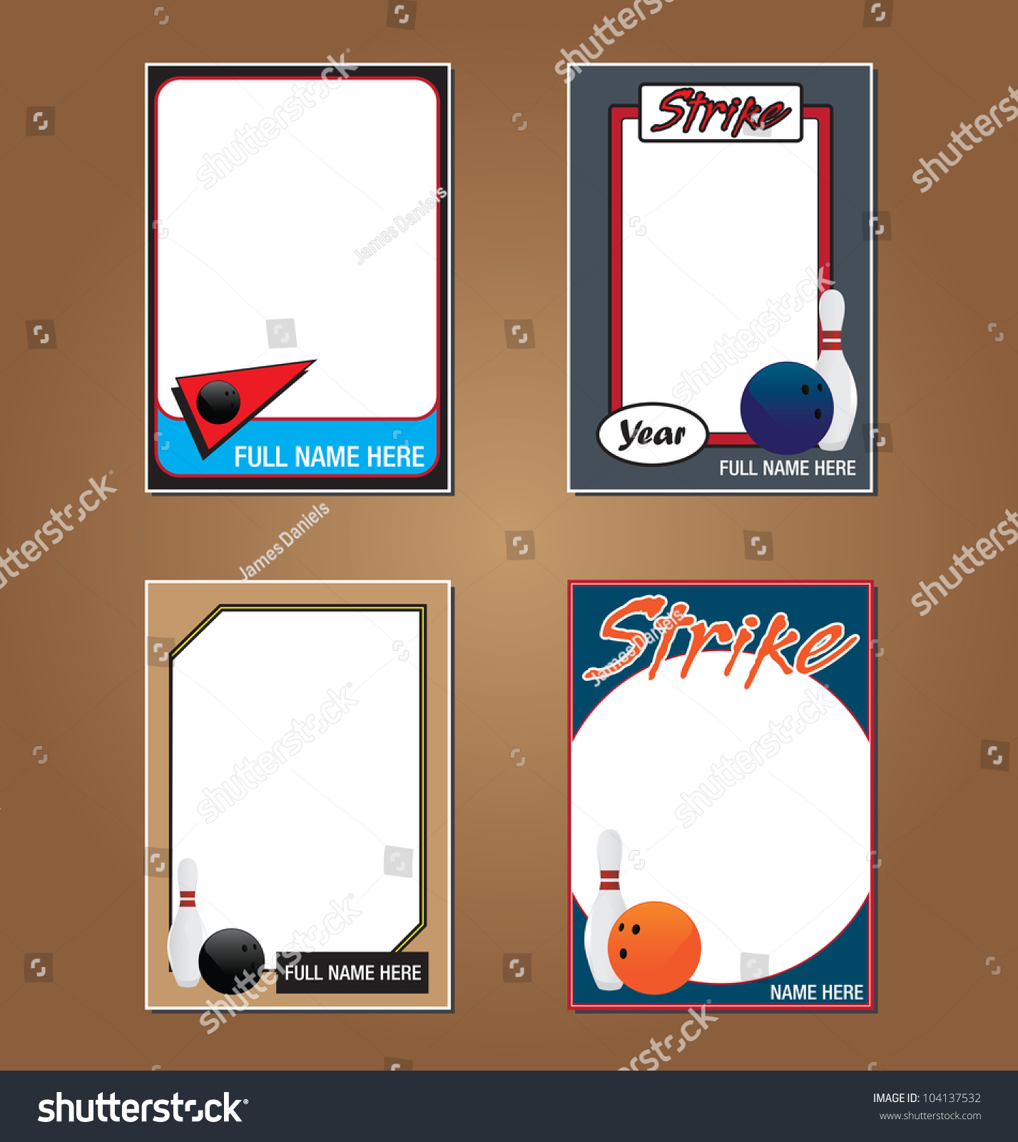 Vector Set Vintage Bowling Trading Card Stock Vector 104137532 ...