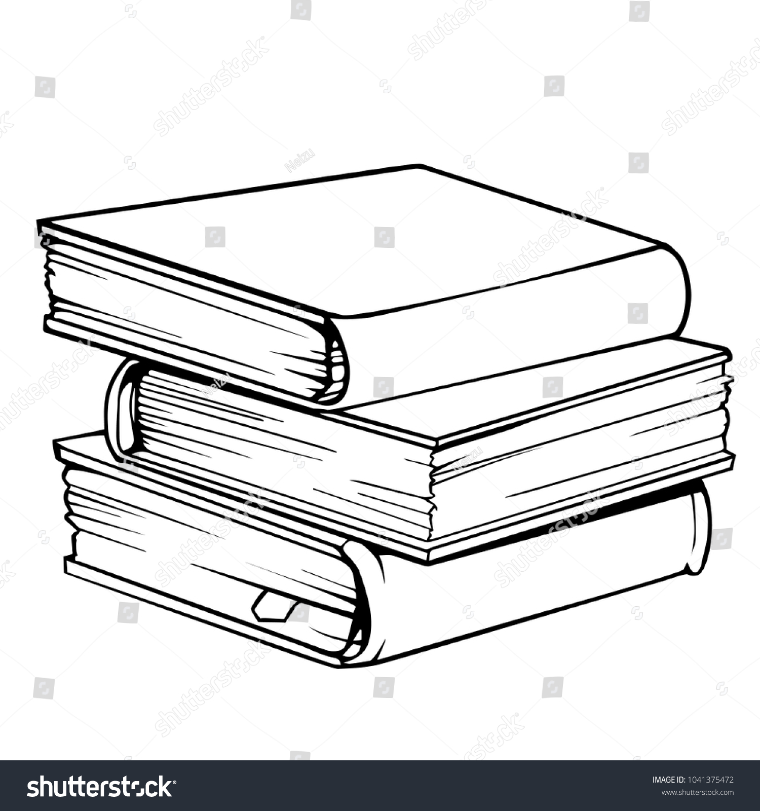 vector drawing pile three books stock vector (royalty free