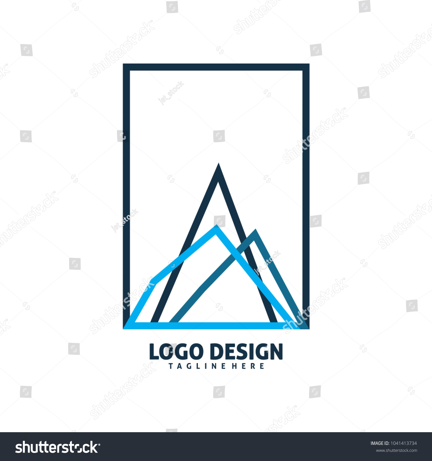 Square Frame Triangle Mountain Chart Logo Stock Vector Royalty Free Diagram Of Mountai Design