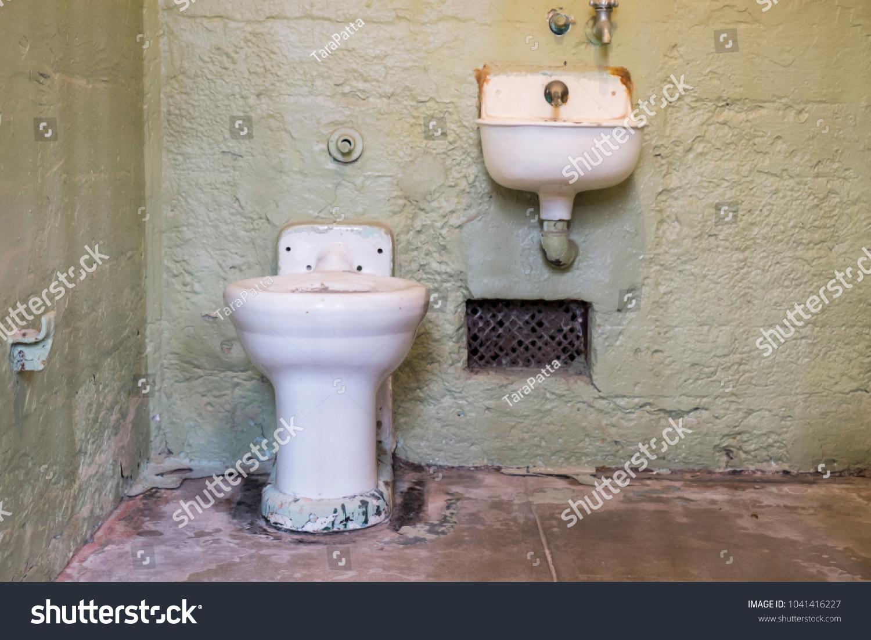Dirty Flush Toilet Sink Prison Cell Stock Photo (Edit Now ...