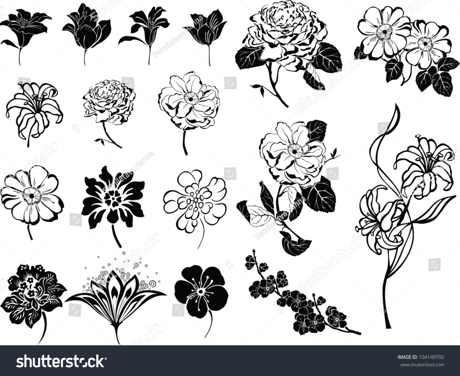Set Black Flower Design Elements Isolated Stock Illustration Shut
