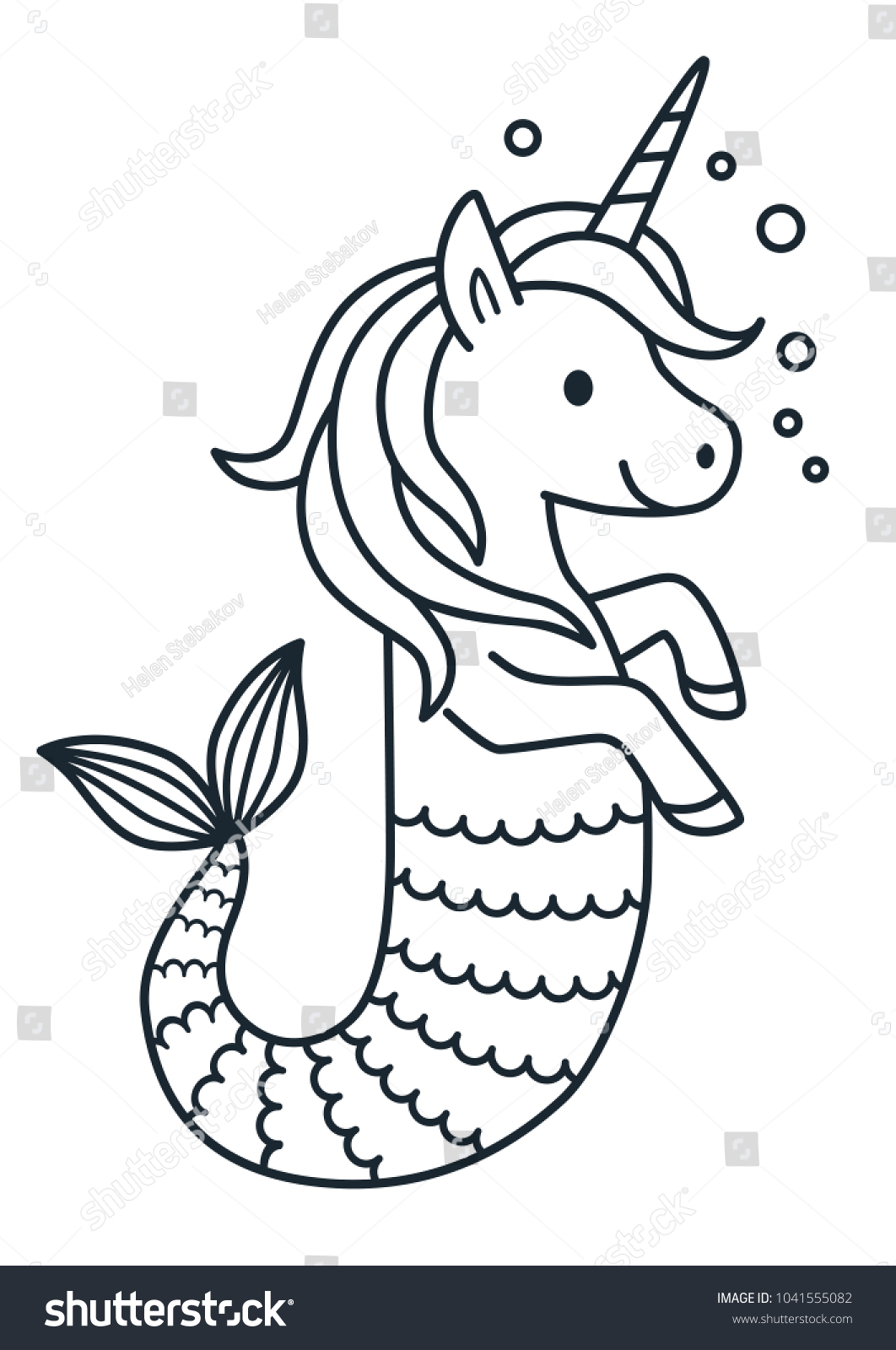 Cute Unicorn Mermaid Vector Coloring Page Stock Vector (Royalty Free ...