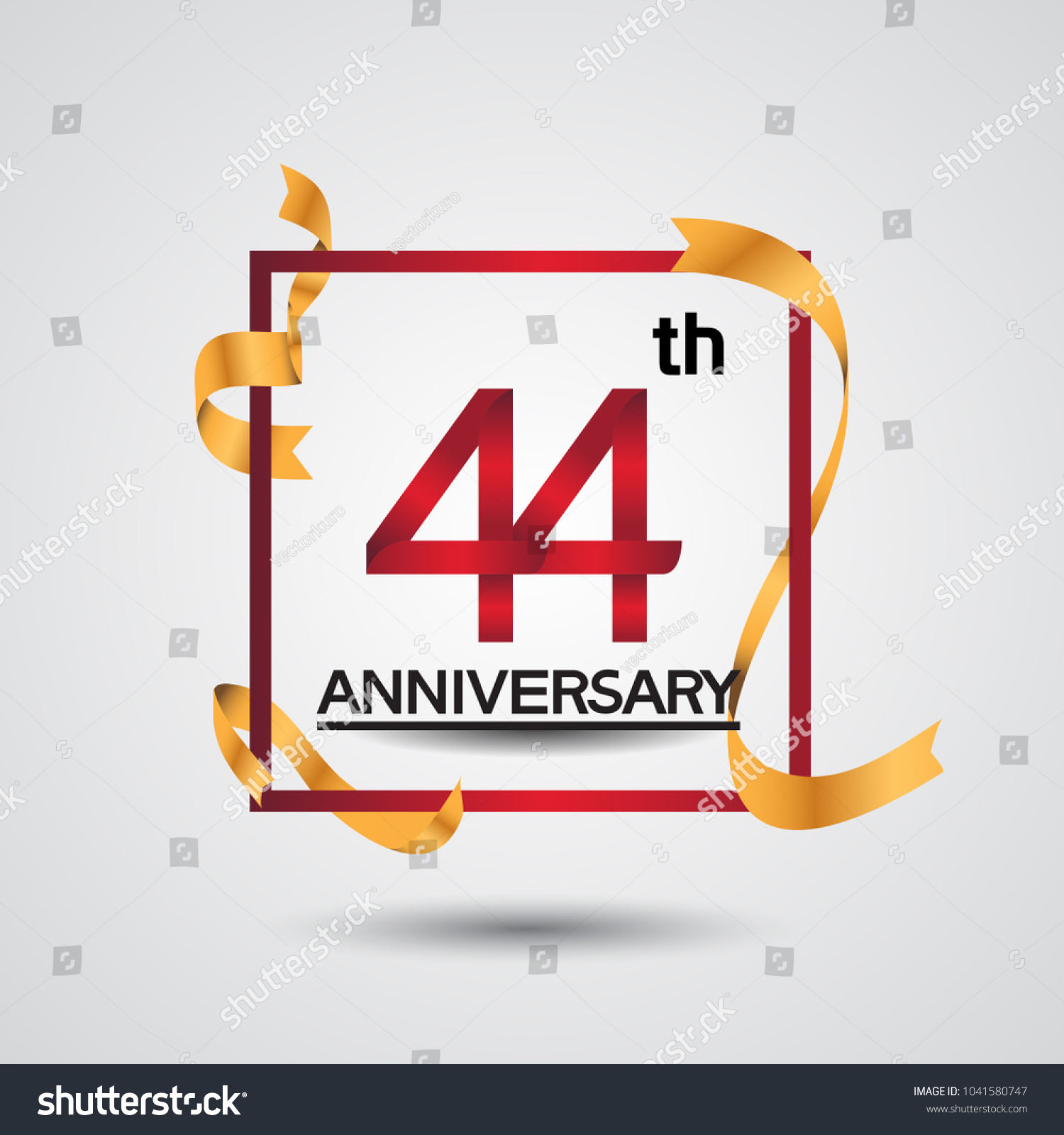 44th anniversary design red color square stock vector 1041580747 44th anniversary design with red color in square and golden ribbon isolated on white background for biocorpaavc Gallery