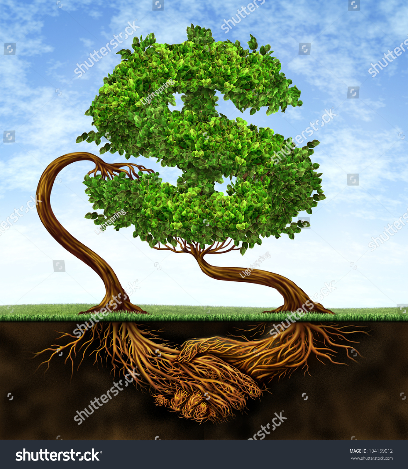 Finance Tree: Financial Growth Agreement With Two Trees In The Shape Of