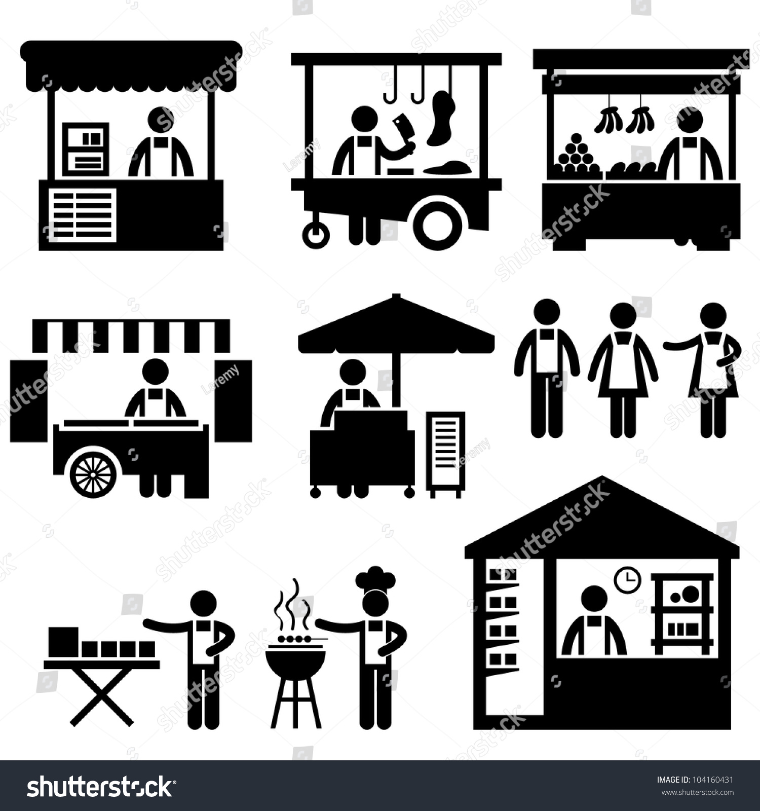 Exhibition Stall Icon : Business stall store booth market marketplace stock vector