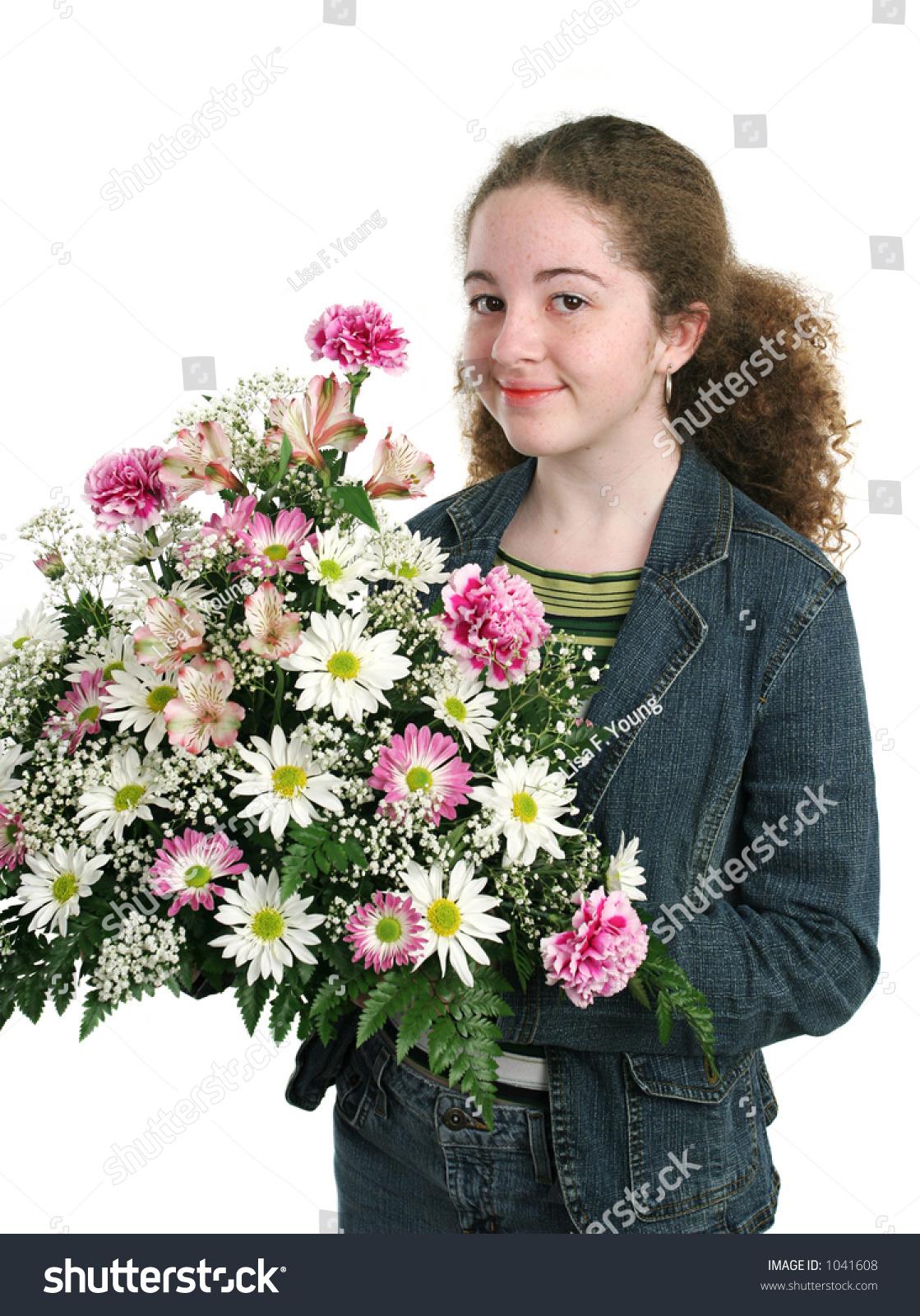 Pretty Teen Girl Holding Beautiful Flower Stock Photo Edit Now