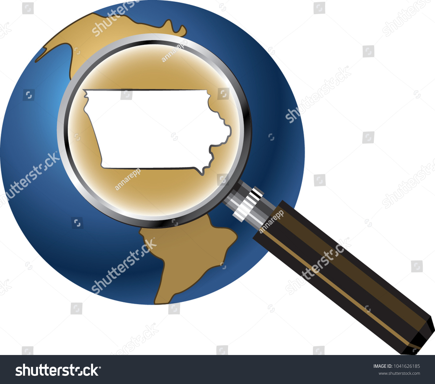Iowa State Map Enlarged Magnifying Glass Vectores En Stock ...