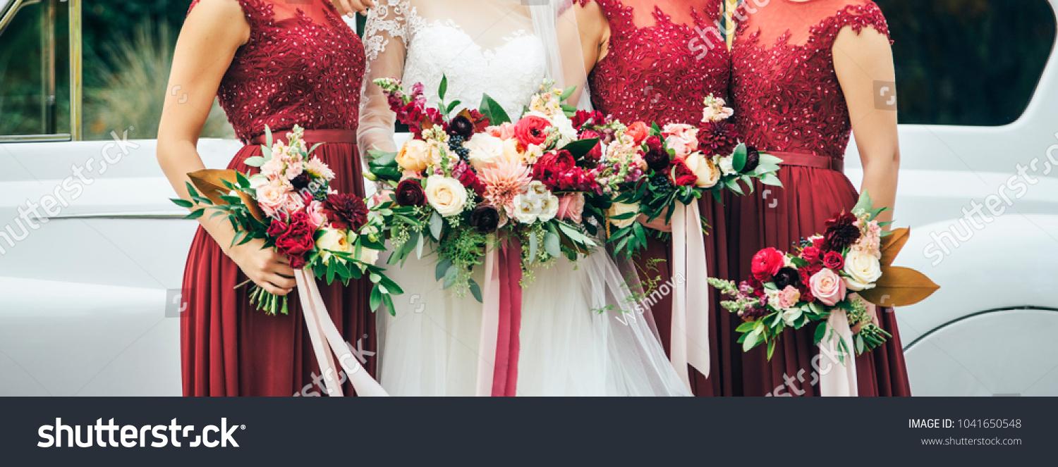 Bride White Wedding Dress Bridesmaids Red Stock Photo Edit Now 1041650548,Jcpenney Wedding Dresses Bridal Gowns