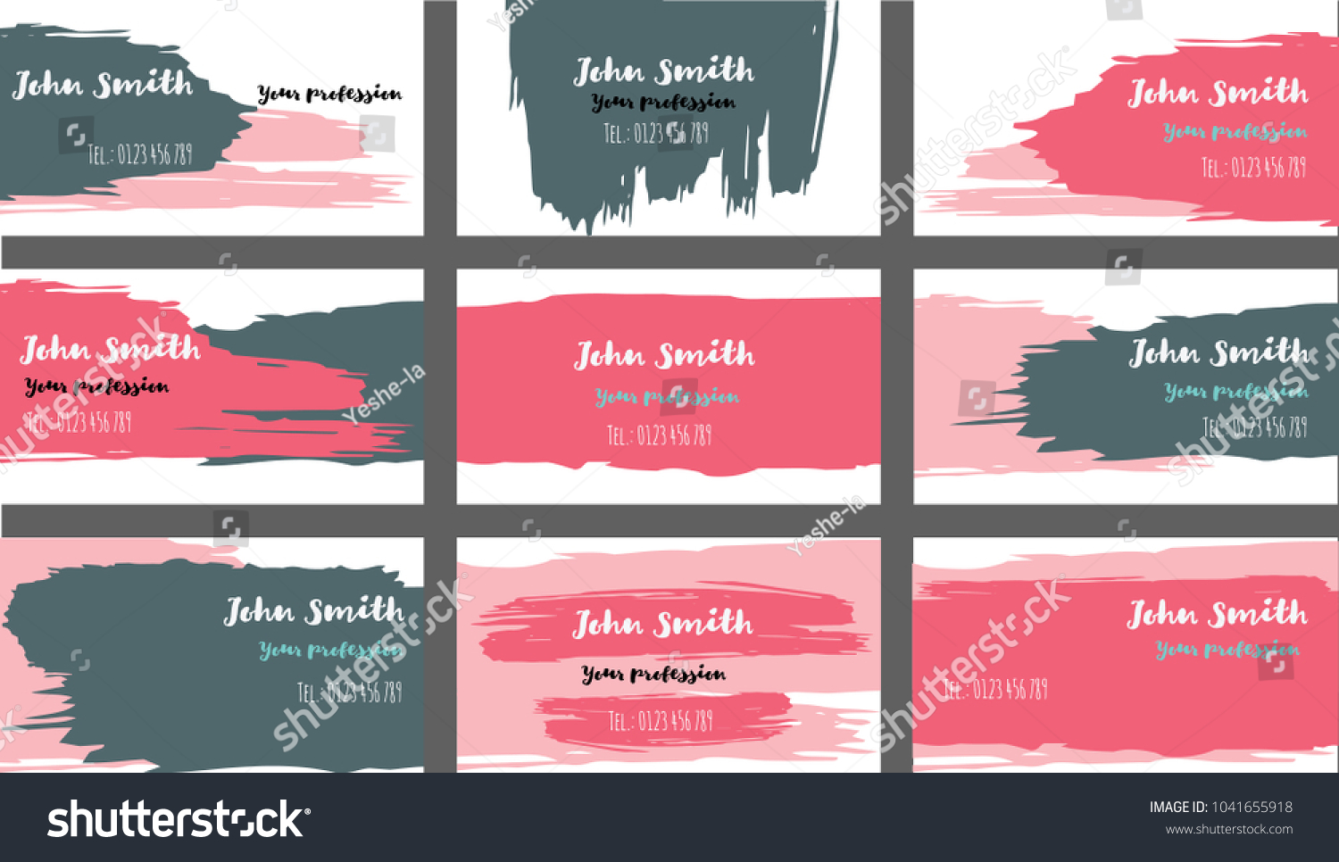 Purple Blue Painted Elegant Business Cards Stock Vector (2018 ...