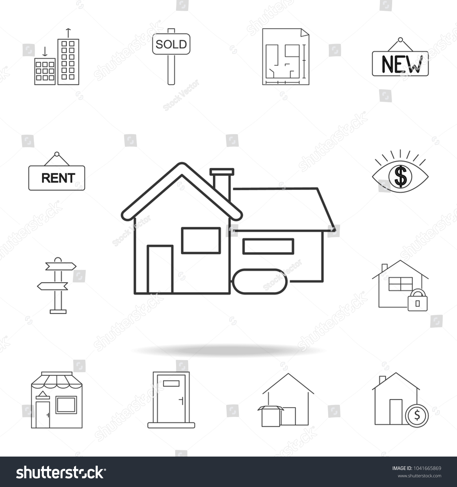 House Icon Set Sale Real Estate Stock Vector 1041665869 Shutterstock