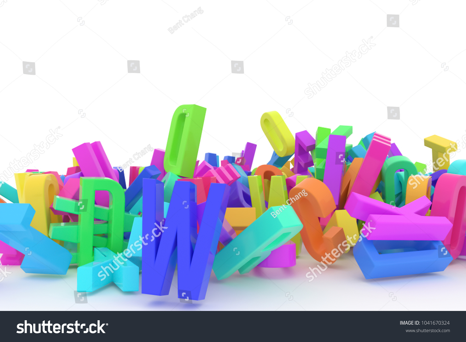 stack of colorful alphabets letters from a to z for education or