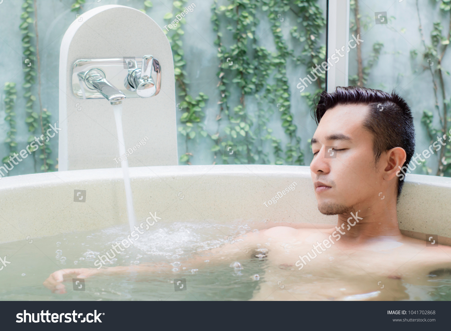 Young Asian Man Bathtub Spa Relaxing Stock Photo (Edit Now ...