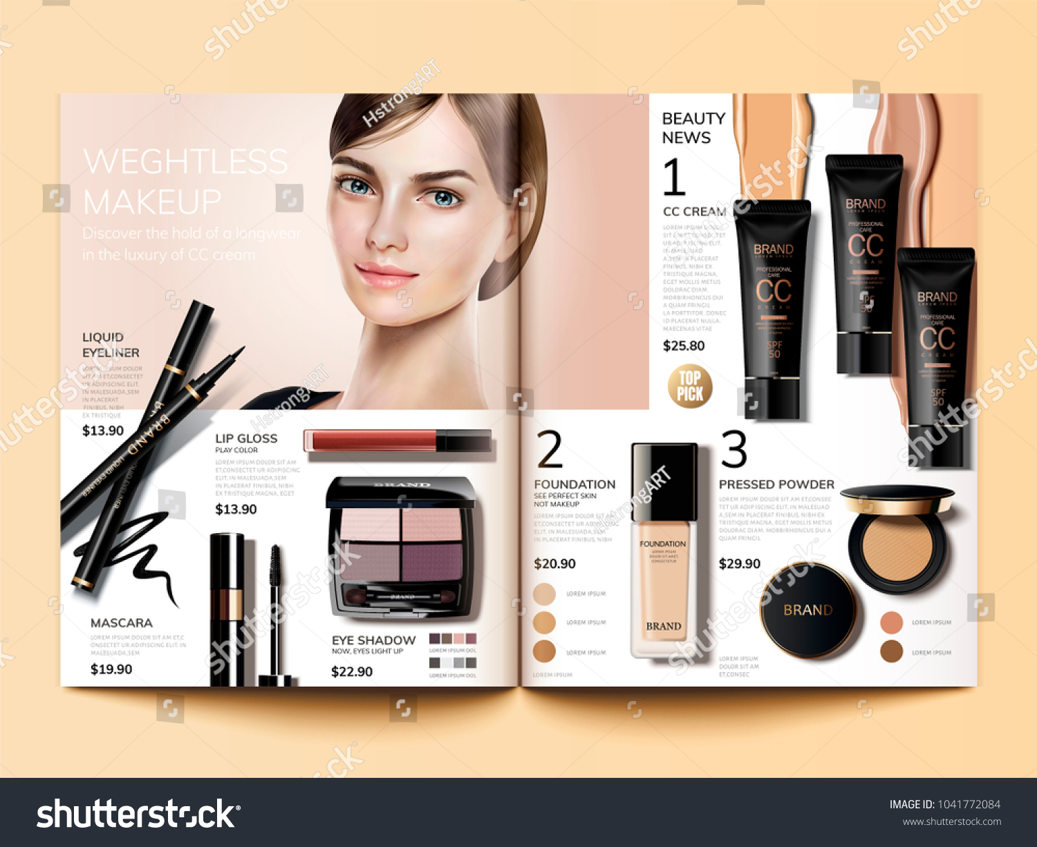 cosmetic magazine template fashion catalogue cc のベクター画像素材
