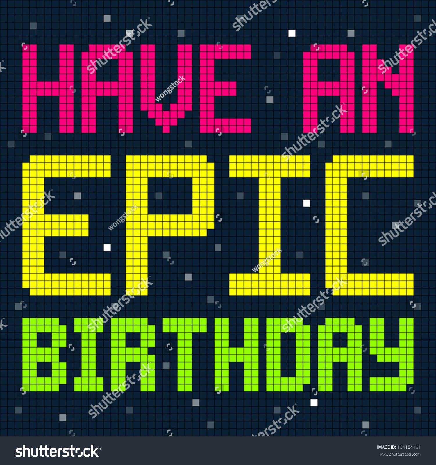 Image Vectorielle De Stock De Pixel Happy Birthday Design