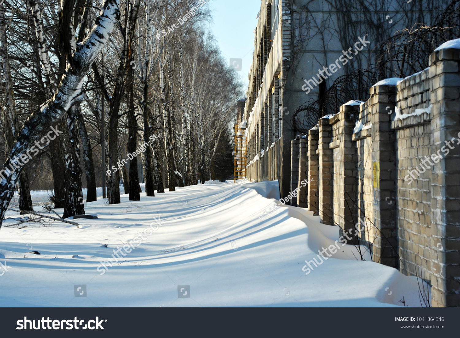 Snow Between Barbed Wire Fence Near Stock Photo (Royalty Free ...