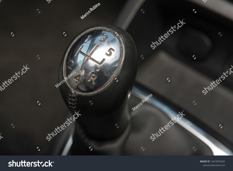 Interior Car Closeup Chromed Gear Shift Foto de stock (libre de ...
