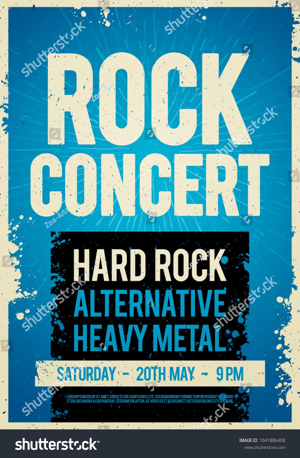 Vector illustration rock concert retro poster design template on old id 1041886408 maxwellsz