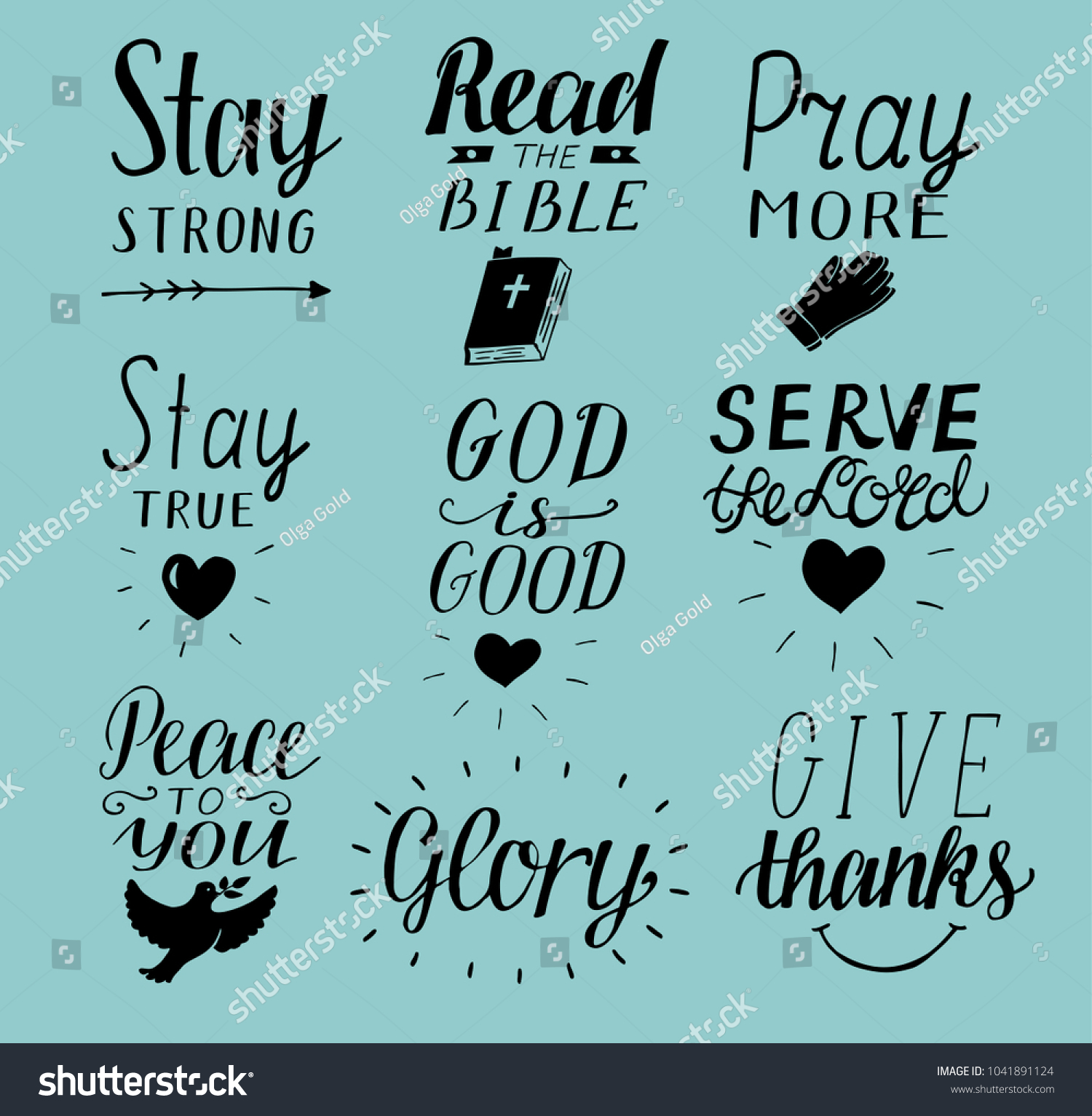 God Is Good Quotes | Set 9 Hand Lettering Christian Quotes Stock Vektorgrafik Lizenzfrei