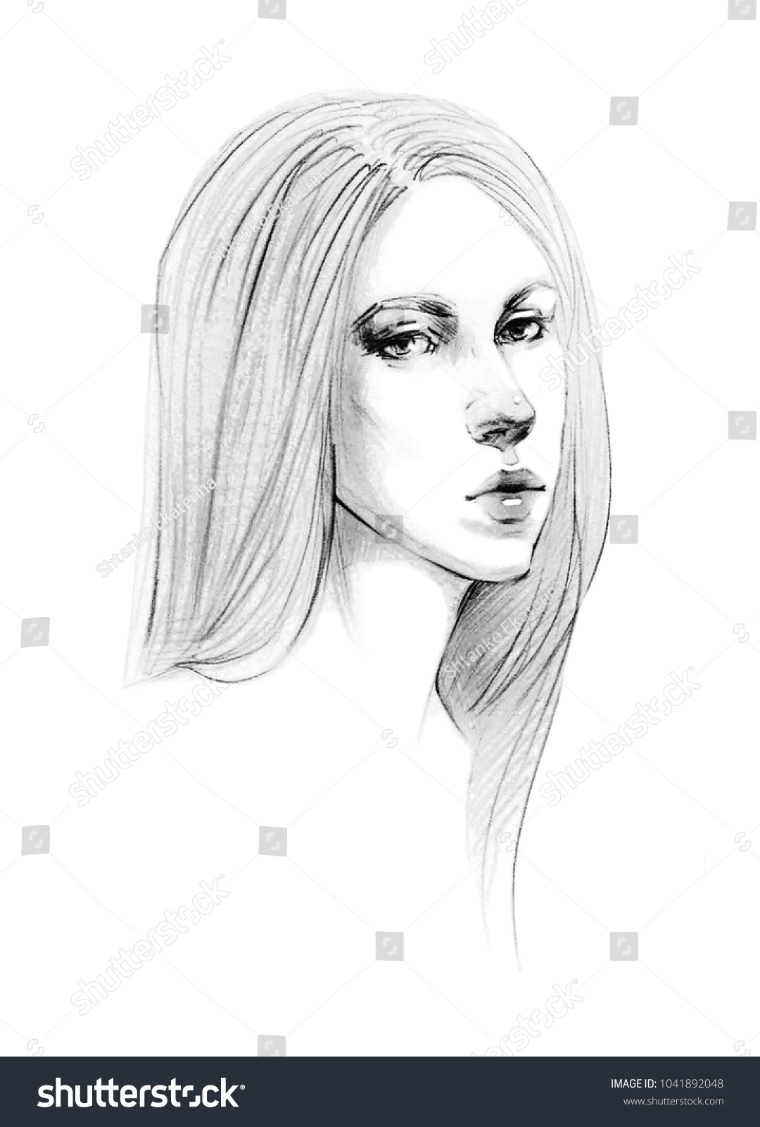 Portrait sketch of a young beautiful girl with long straight hair cute girl pencil drawing