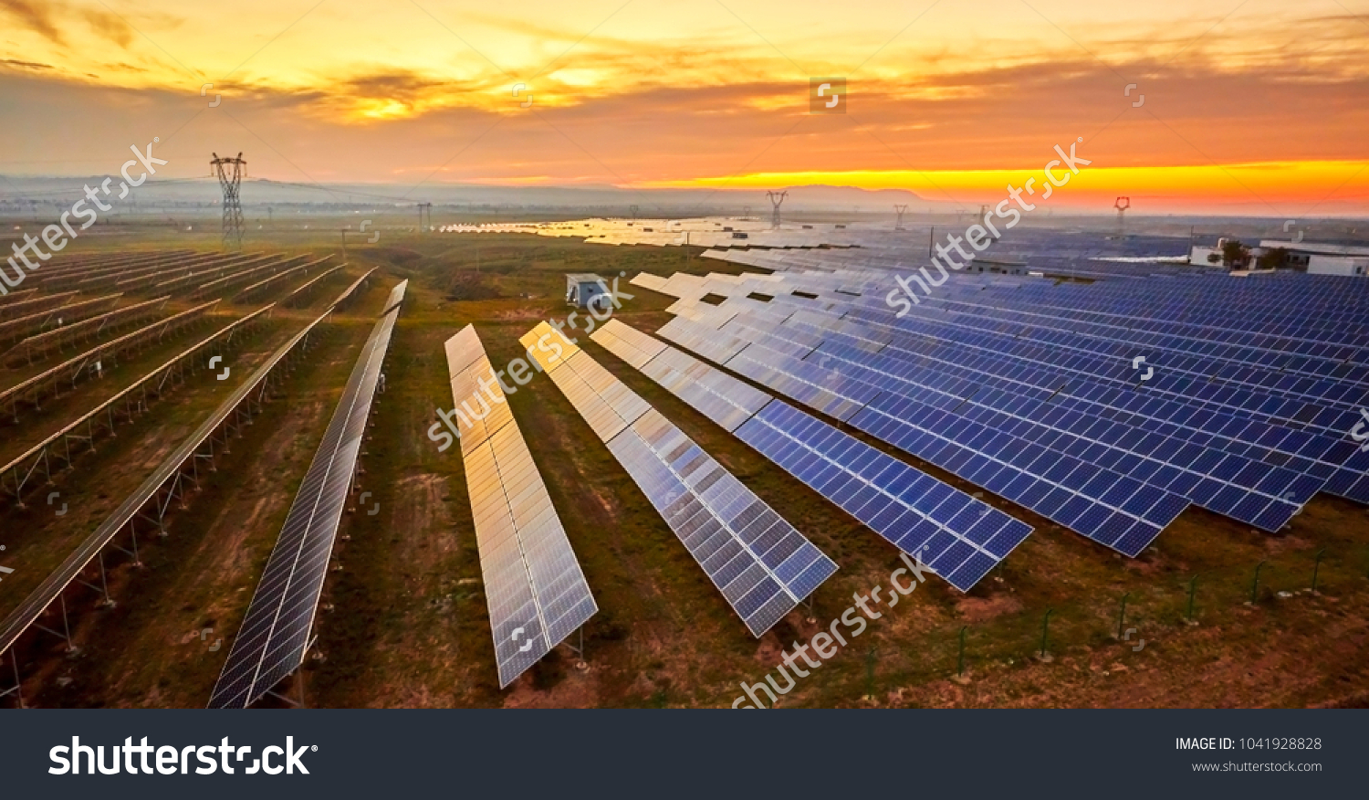 Solar photovoltaic photographed before sunrise #1041928828