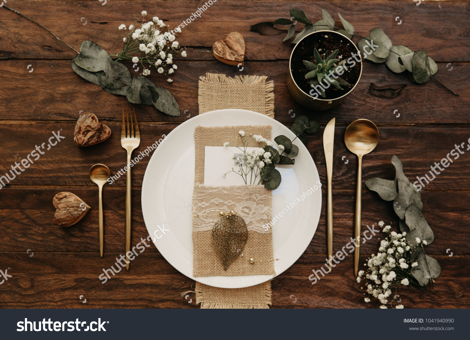 Rustic Wedding Table Set Vintage Dining | Holidays Stock Image 1041940990