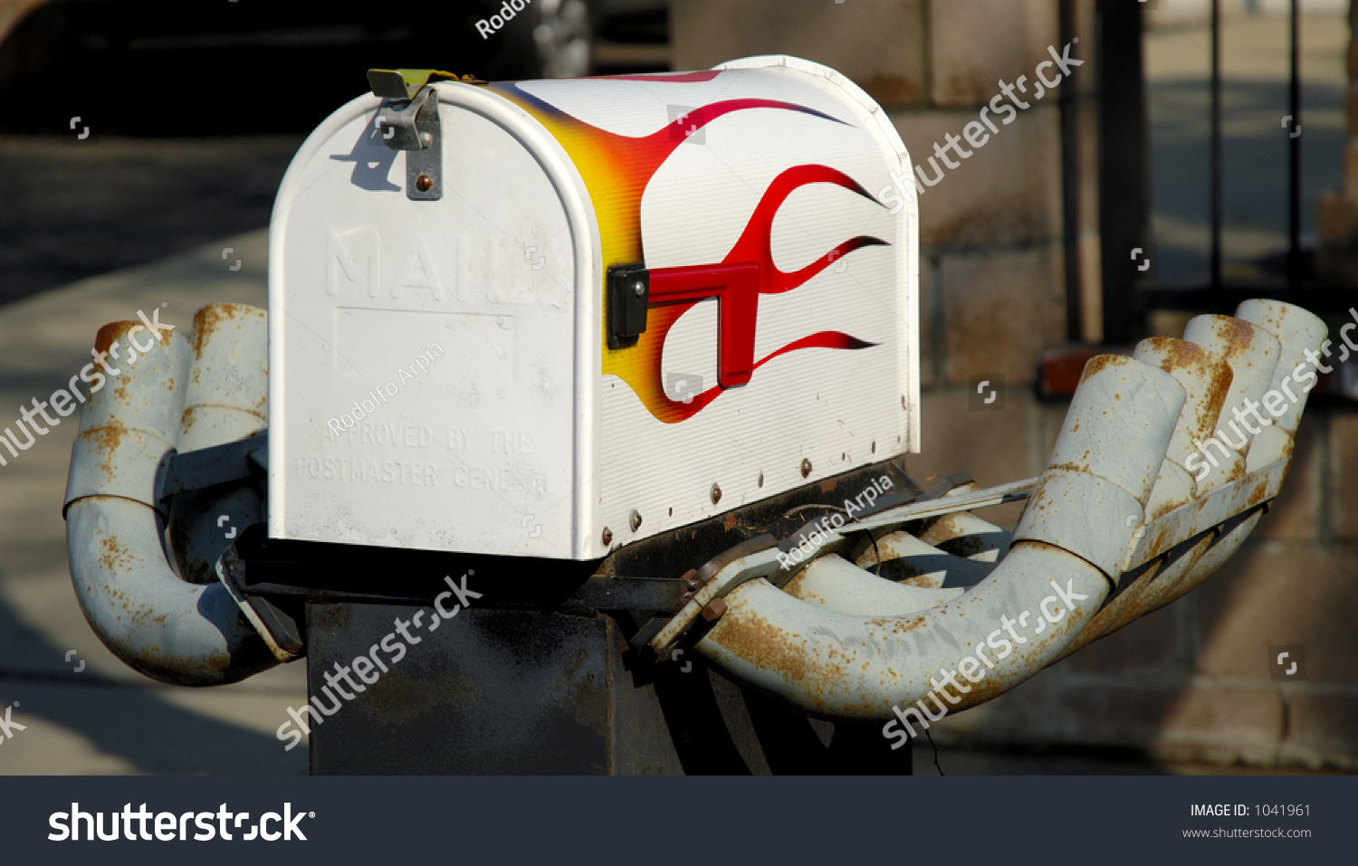 Mailbox with painted flames and exhaust pipes. Concept fast speed speedy postal & Mailbox Painted Flames Exhaust Pipes Concept Stock Photo (Royalty ...