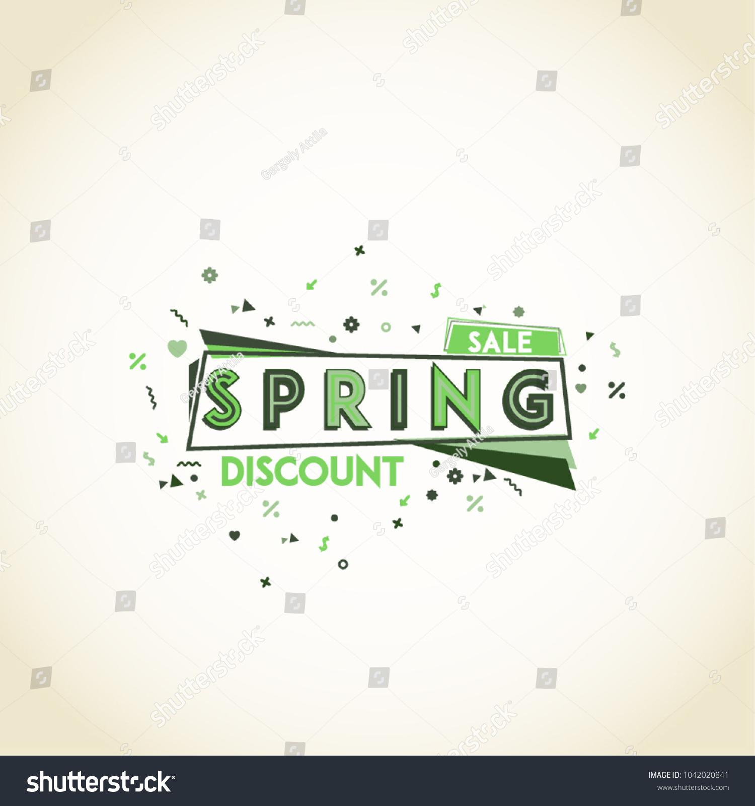 Spring Discount Presentation Typography Design Green Stock Vector ...