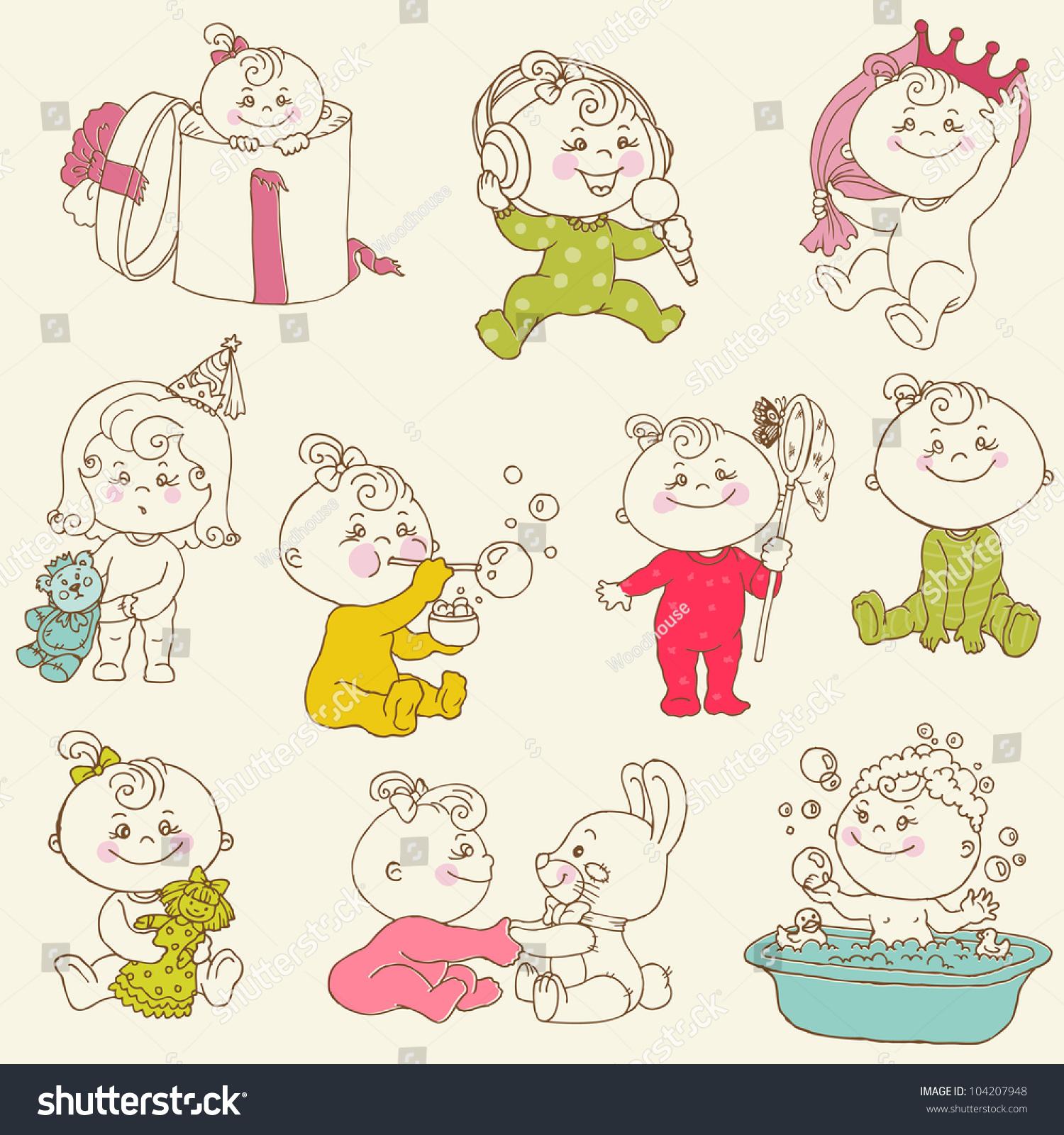 How to scrapbook for baby girl - Baby Girl Cute Doodles For Design And Scrapbook In Vector
