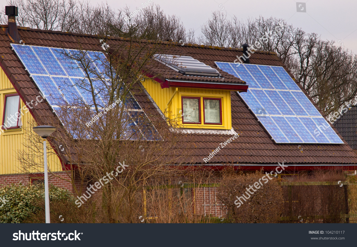 Solar Panels On A Colorful Modern House Stock Photo