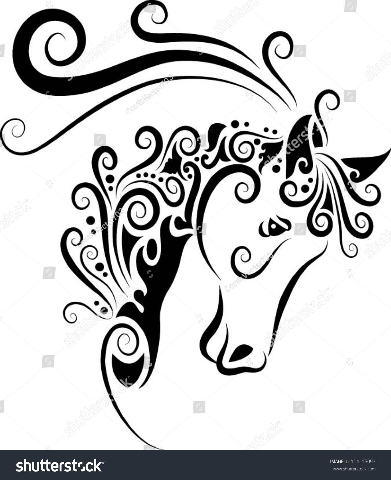 Horse Head Ornament Decoration Animal Sketch Vector De Stock Libre