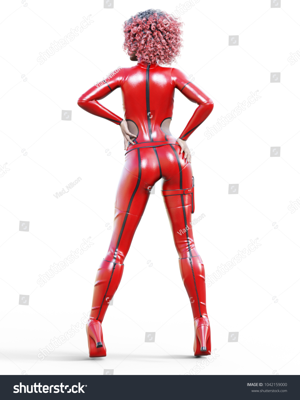 3 D Beautiful Tall Woman Leather Red Stock Illustration 1042159000