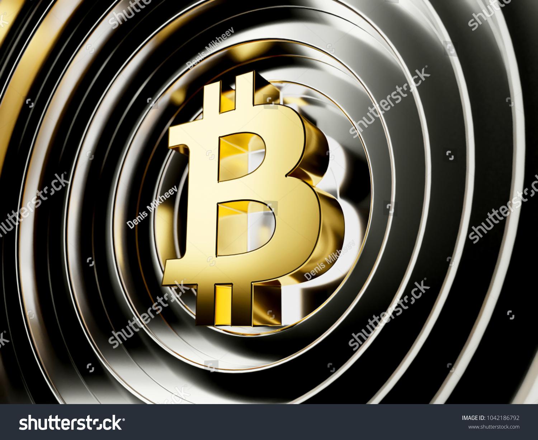 Golden Bitcoin Cryptocurrency Symbol On Black Stock Illustration