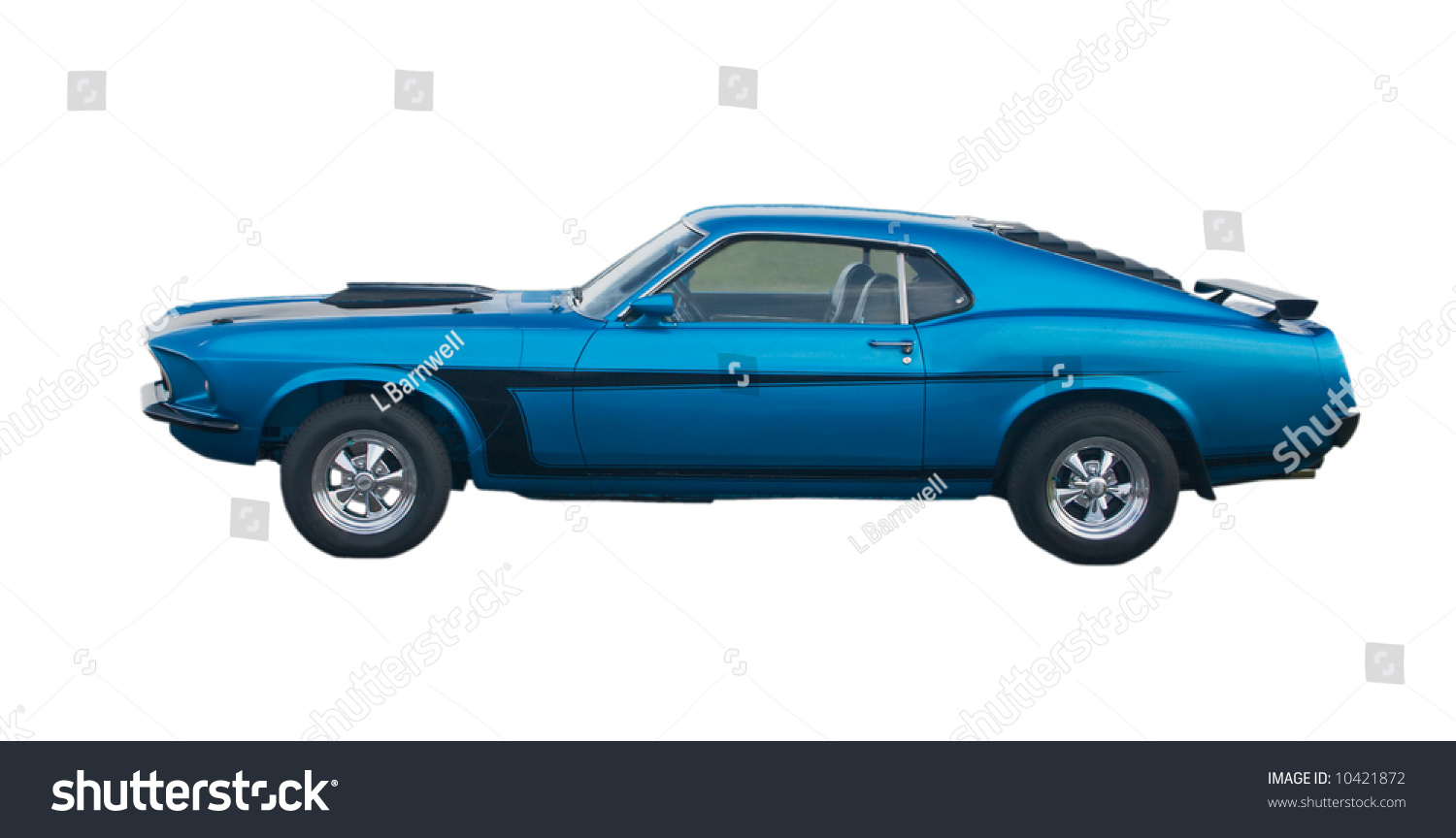 Blue Classic American Muscle Car Black Stock Photo Edit Now