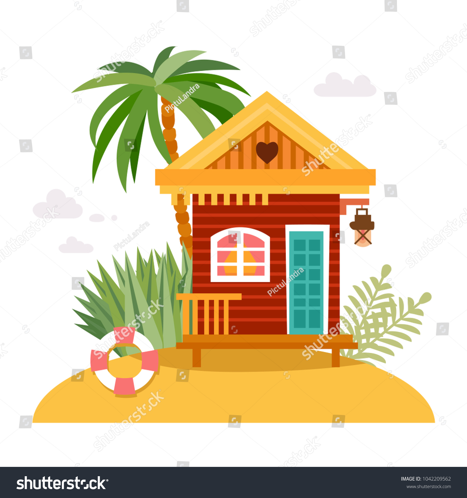 Cartoon Straw Huts Bungalow For Tropical Hotels On Island In Flat