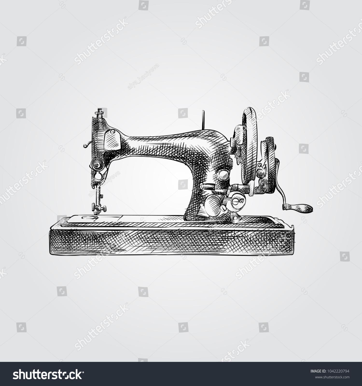 Hand Drawn Sewing Machine Sketch Symbol Stock Vector (Royalty Free ...