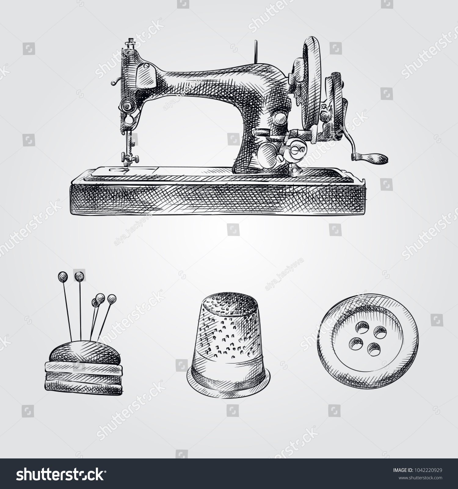 Hand Drawn Sewing Sketches Set Collection Stock Vector (Royalty Free ...
