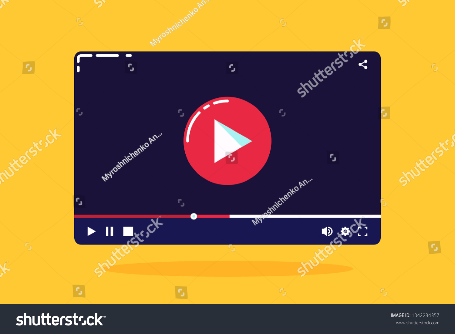 Cartoon Video Player TemplateModern Or Audio Interface In Flat StyleVector