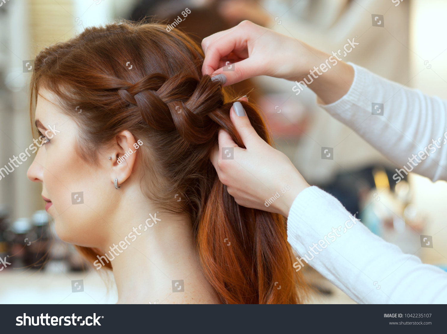 Beautiful Redhaired Girl Long Hair Hairdresser Stock Photo Royalty